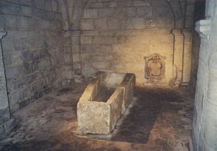 A sarcophagus found under the foundations of the steeple
